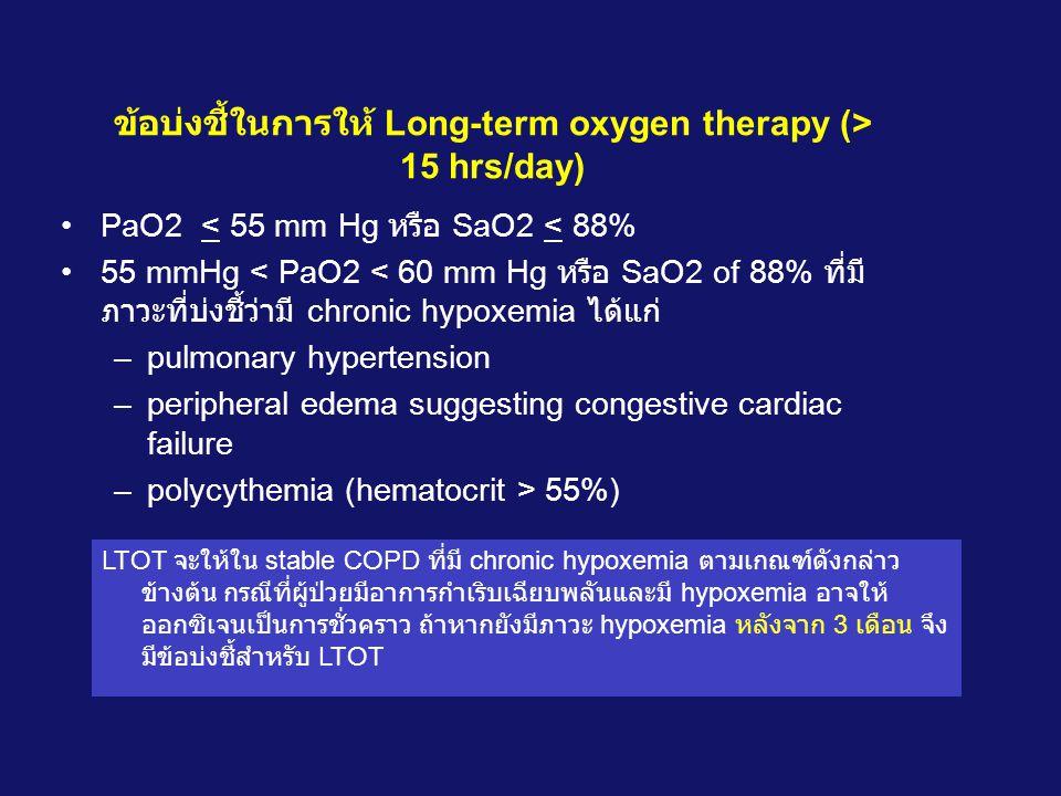 ข้อบ่งชี้ในการให้ Long-term oxygen therapy (> 15 hrs/day)