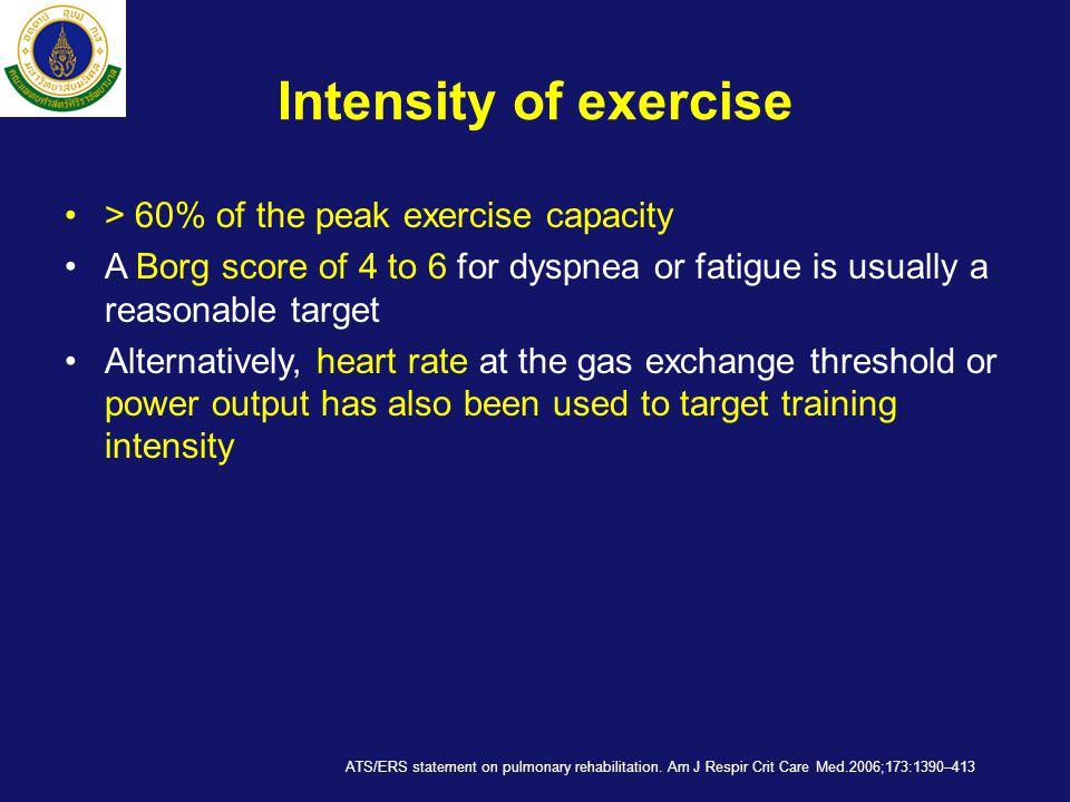 Intensity of exercise > 60% of the peak exercise capacity