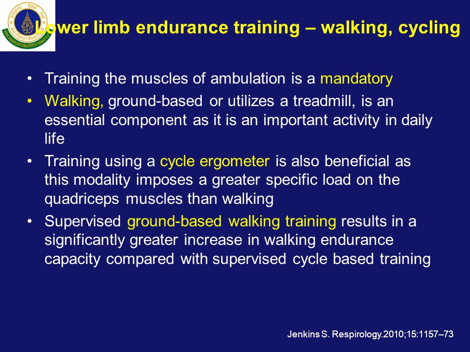 Lower limb endurance training – walking, cycling