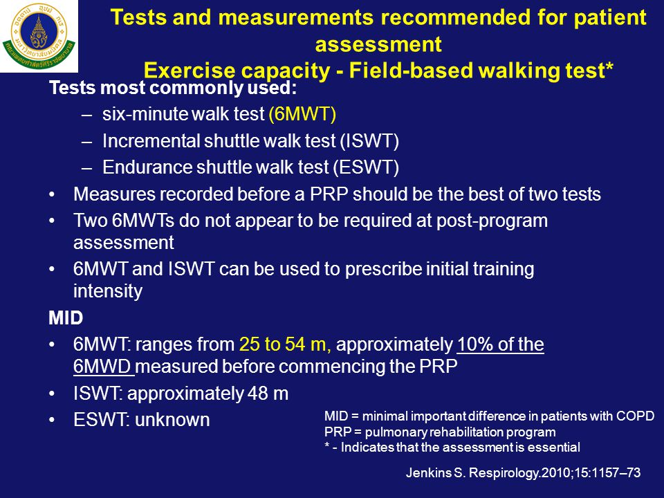 Tests and measurements recommended for patient assessment Exercise capacity - Field-based walking test*