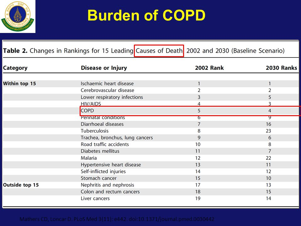 Burden of COPD Mathers CD, Loncar D. PLoS Med 3(11): e442. doi:10.1371/journal.pmed.0030442