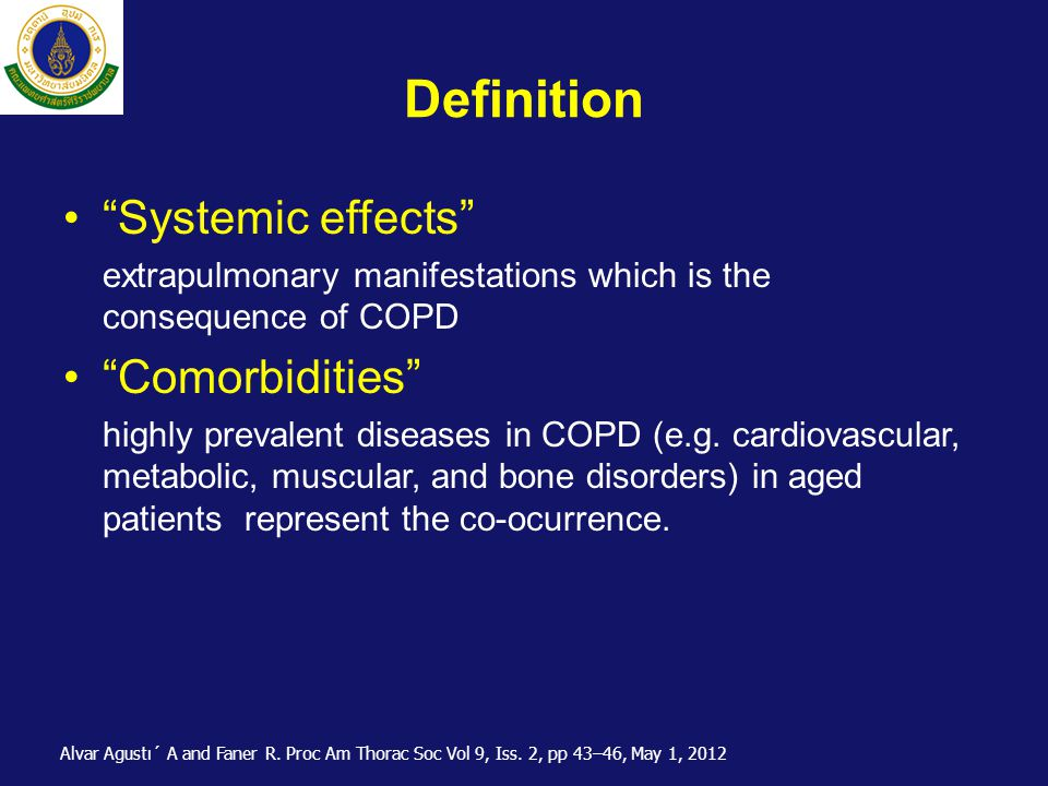 Definition Systemic effects Comorbidities