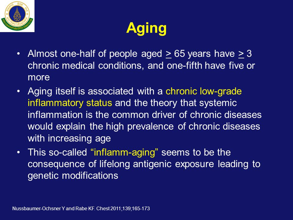 Aging Almost one-half of people aged > 65 years have > 3 chronic medical conditions, and one-fifth have five or more.