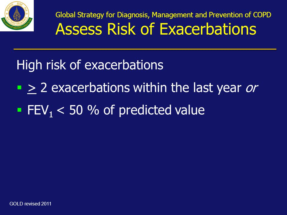 High risk of exacerbations