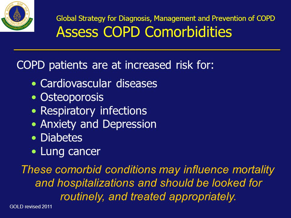COPD patients are at increased risk for: Cardiovascular diseases