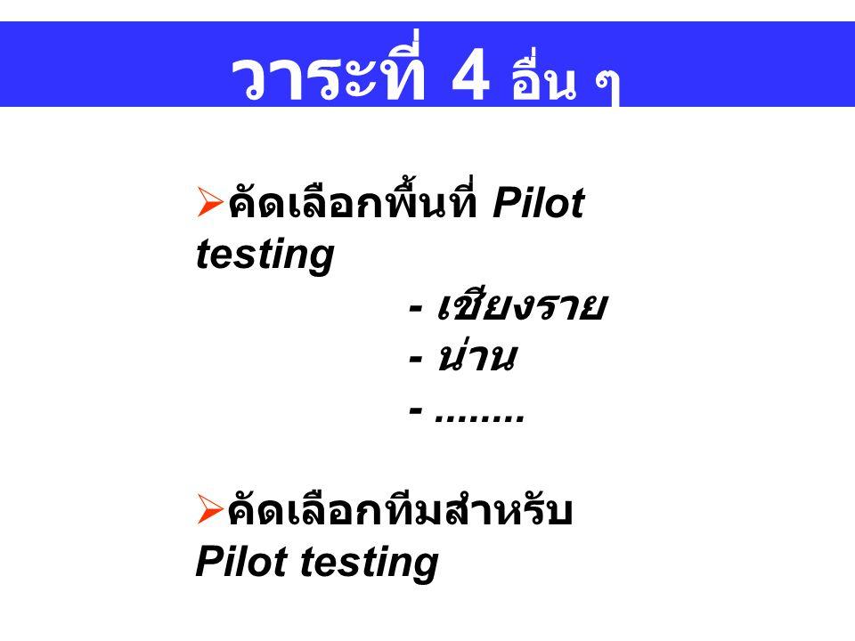 วาระที่ 4 อื่น ๆ คัดเลือกพื้นที่ Pilot testing - เชียงราย - น่าน