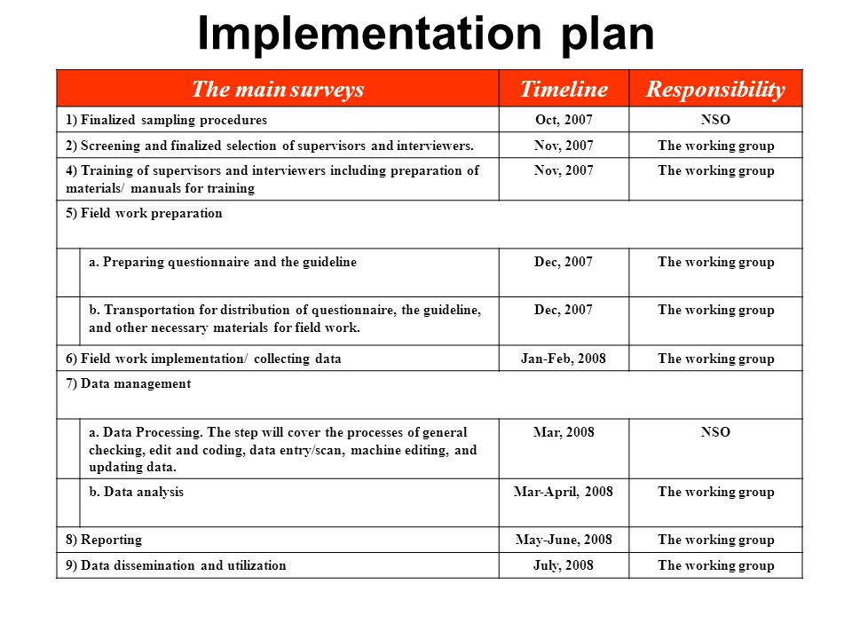 Implementation plan The main surveys Timeline Responsibility