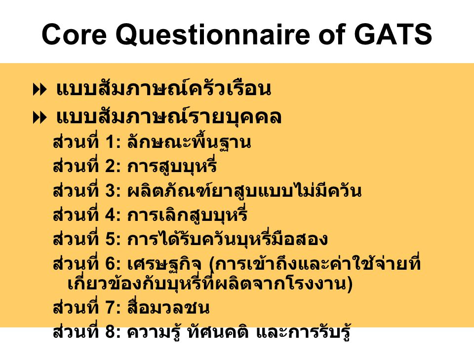 Core Questionnaire of GATS