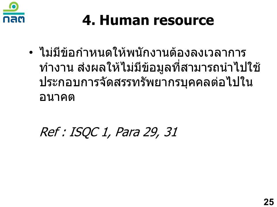 4. Human resource ไม่มีข้อกำหนดให้พนักงานต้องลงเวลาการทำงาน ส่งผลให้ไม่มีข้อมูลที่สามารถนำไปใช้ประกอบการจัดสรรทรัพยากรบุคคลต่อไปในอนาคต.