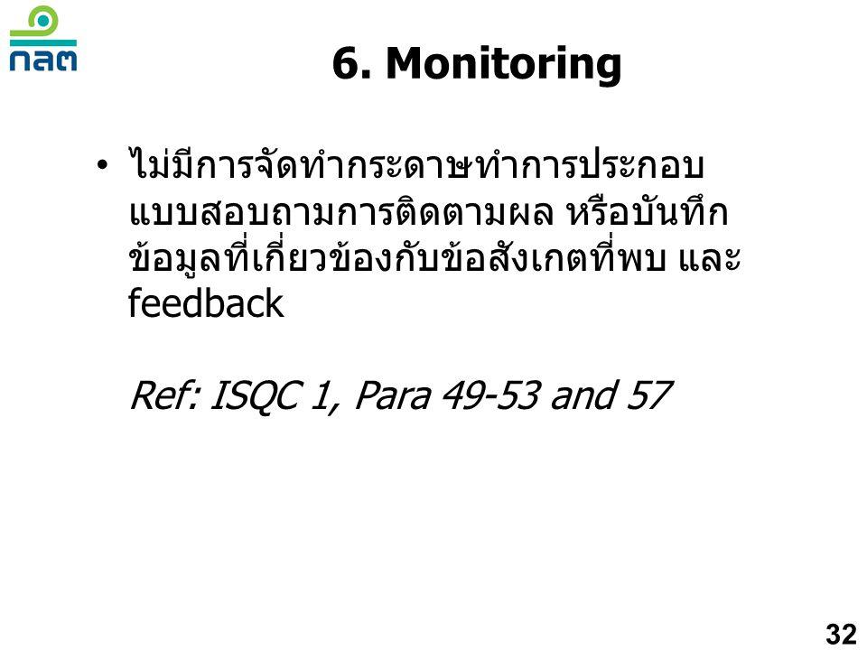 6. Monitoring ไม่มีการจัดทำกระดาษทำการประกอบแบบสอบถามการติดตามผล หรือบันทึกข้อมูลที่เกี่ยวข้องกับข้อสังเกตที่พบ และ feedback.