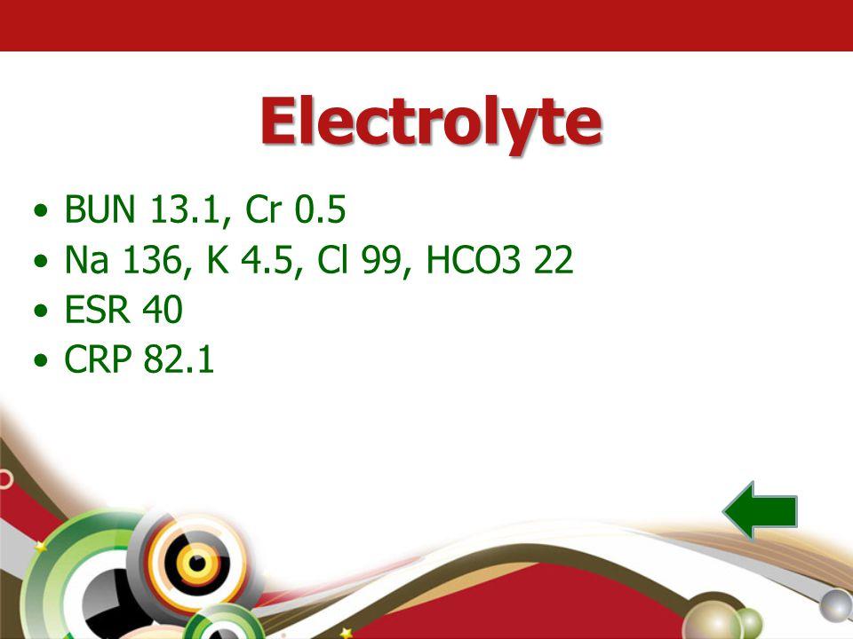 Electrolyte BUN 13.1, Cr 0.5 Na 136, K 4.5, Cl 99, HCO3 22 ESR 40