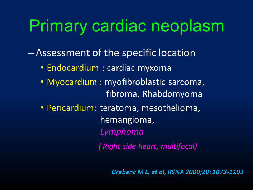 Primary cardiac neoplasm