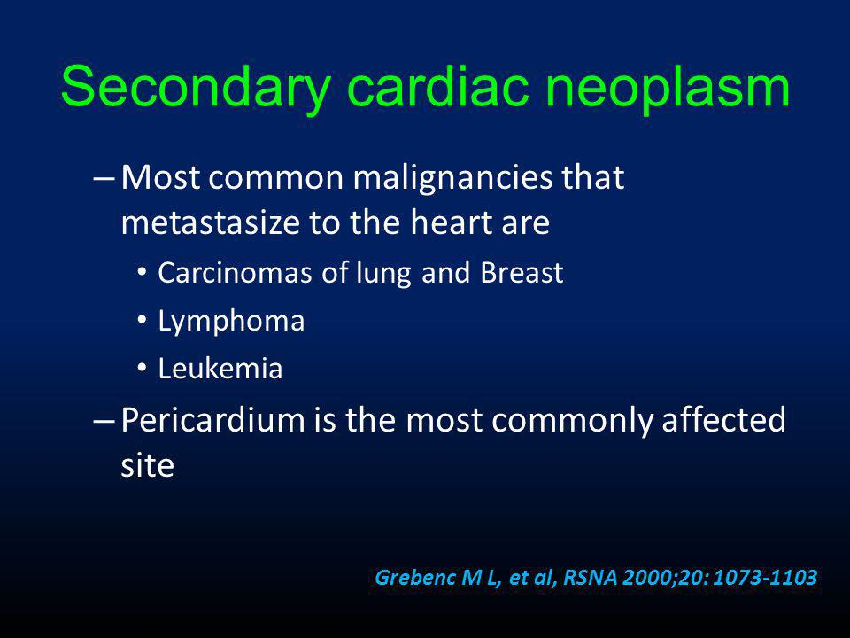 Secondary cardiac neoplasm