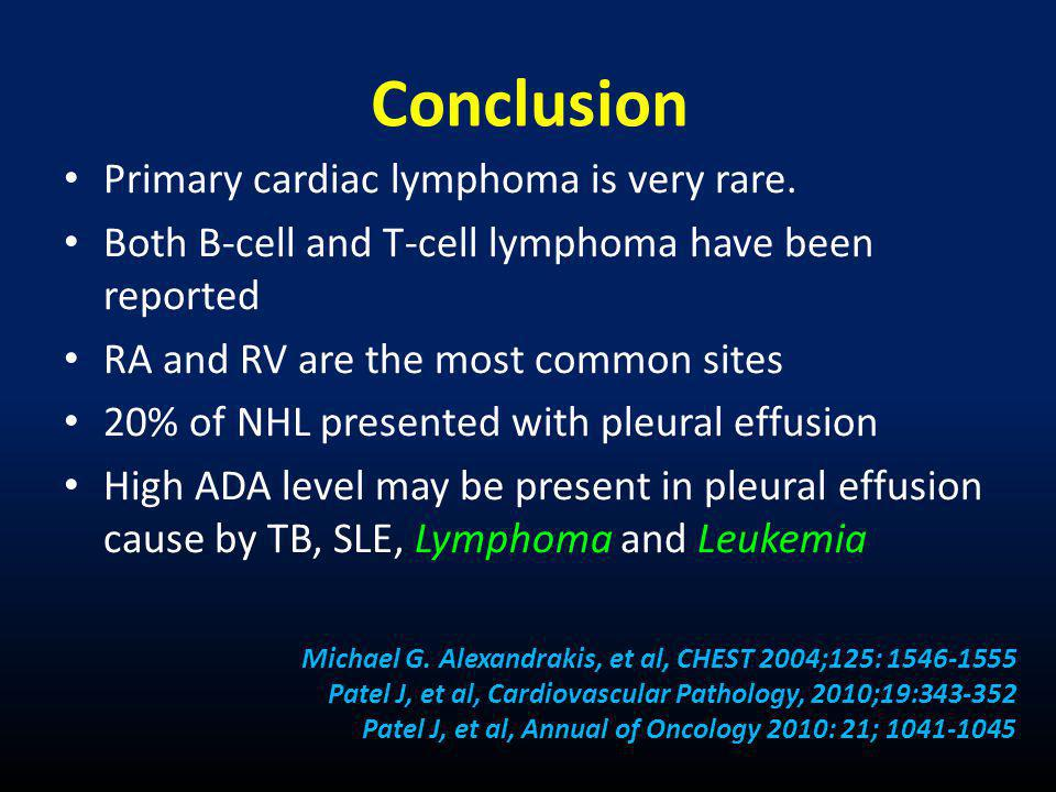 Conclusion Primary cardiac lymphoma is very rare.