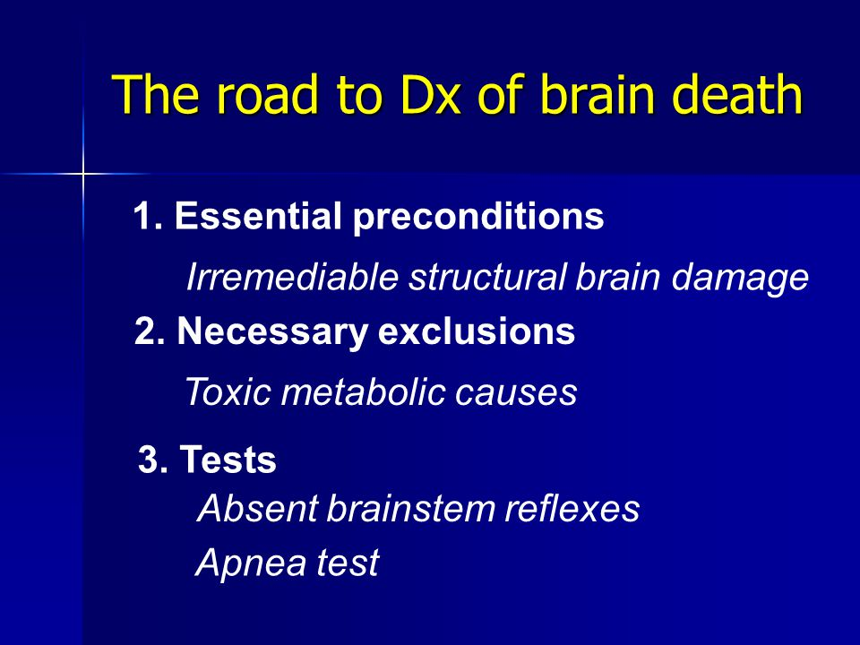 The road to Dx of brain death