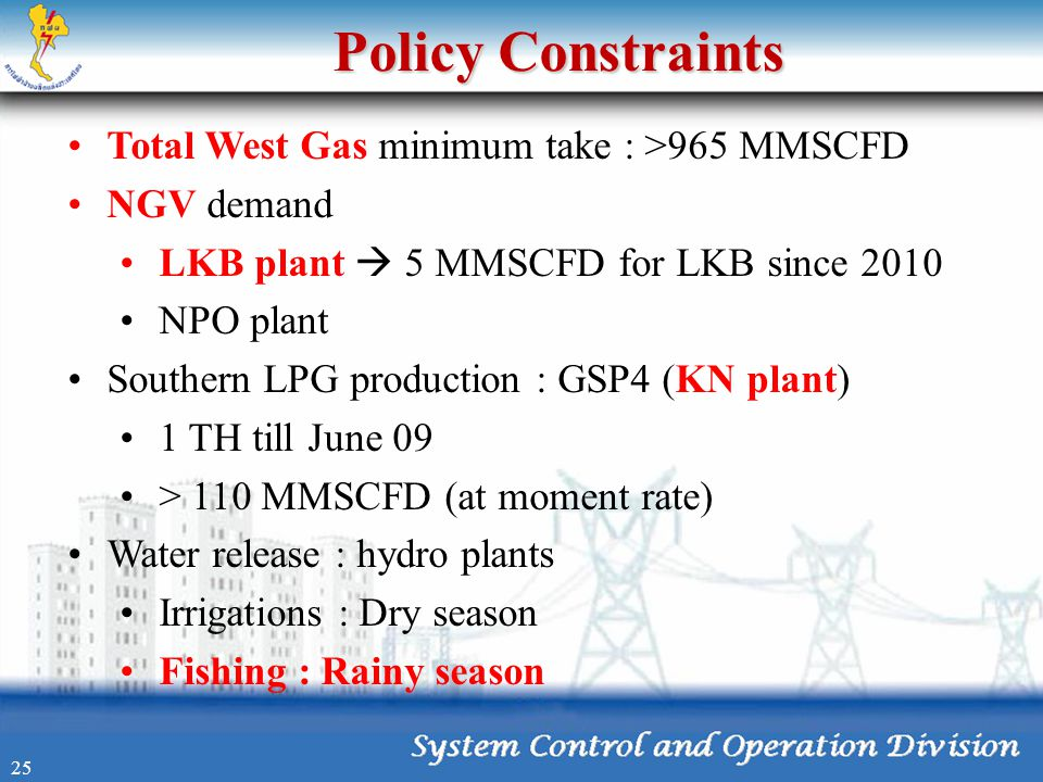 Policy Constraints Total West Gas minimum take : >965 MMSCFD