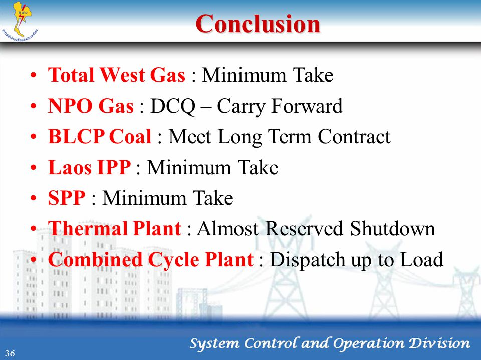 Conclusion Total West Gas : Minimum Take NPO Gas : DCQ – Carry Forward