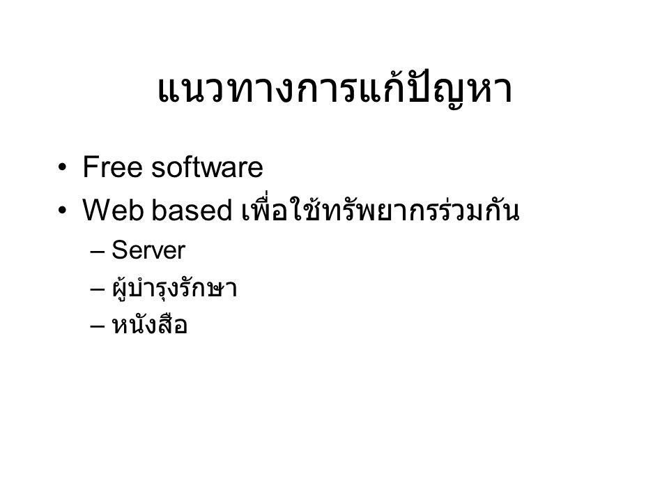 แนวทางการแก้ปัญหา Free software Web based เพื่อใช้ทรัพยากรร่วมกัน