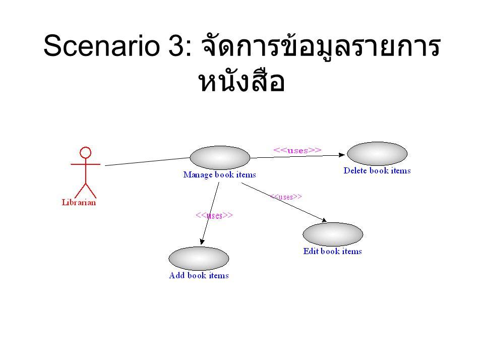 Scenario 3: จัดการข้อมูลรายการหนังสือ
