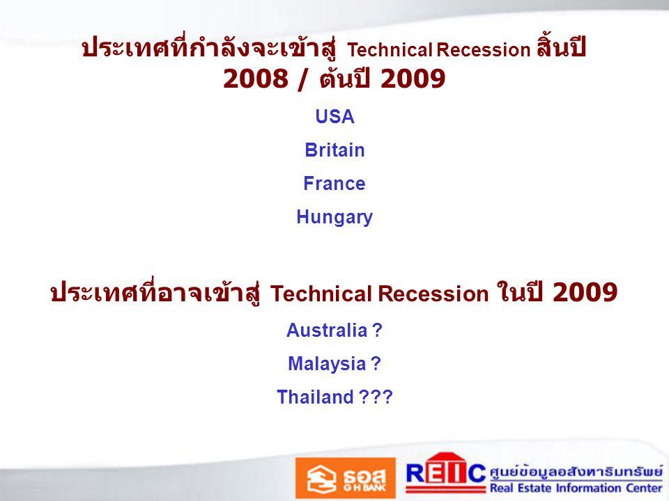 ประเทศที่กำลังจะเข้าสู่ Technical Recession สิ้นปี 2008 / ต้นปี 2009
