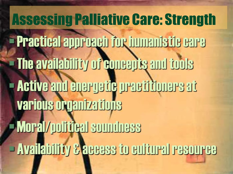 Assessing Palliative Care: Strength