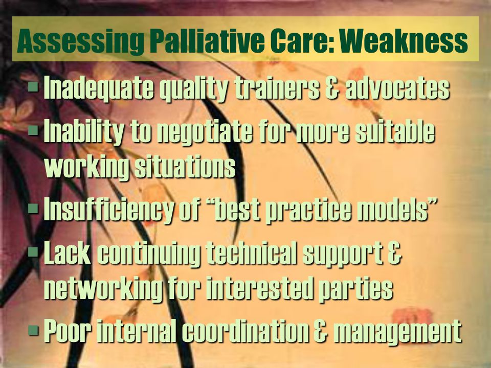 Assessing Palliative Care: Weakness