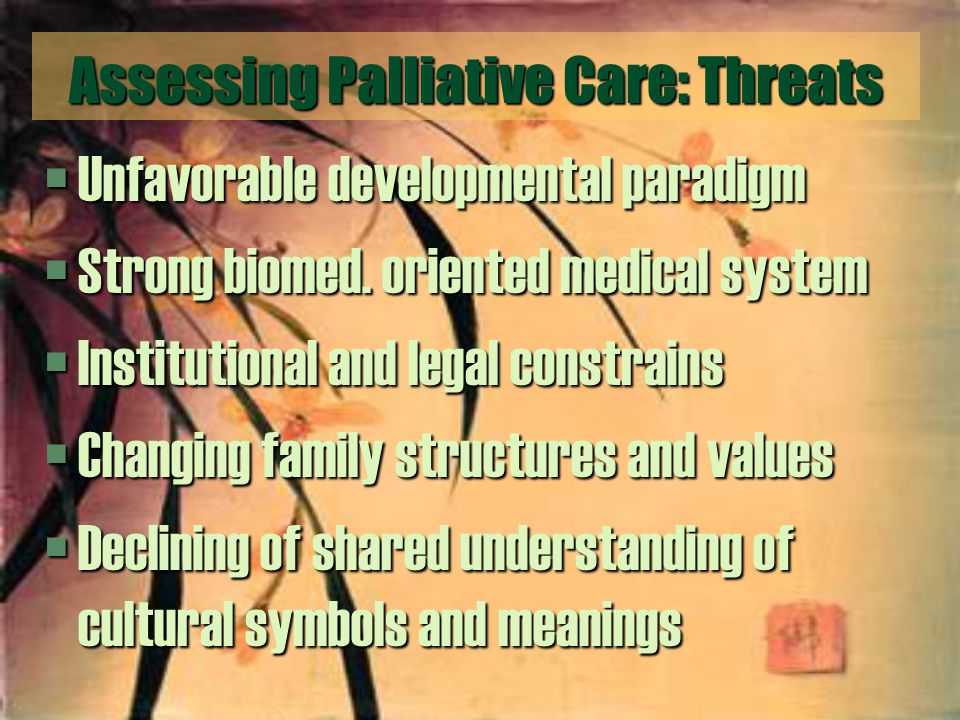 Assessing Palliative Care: Threats