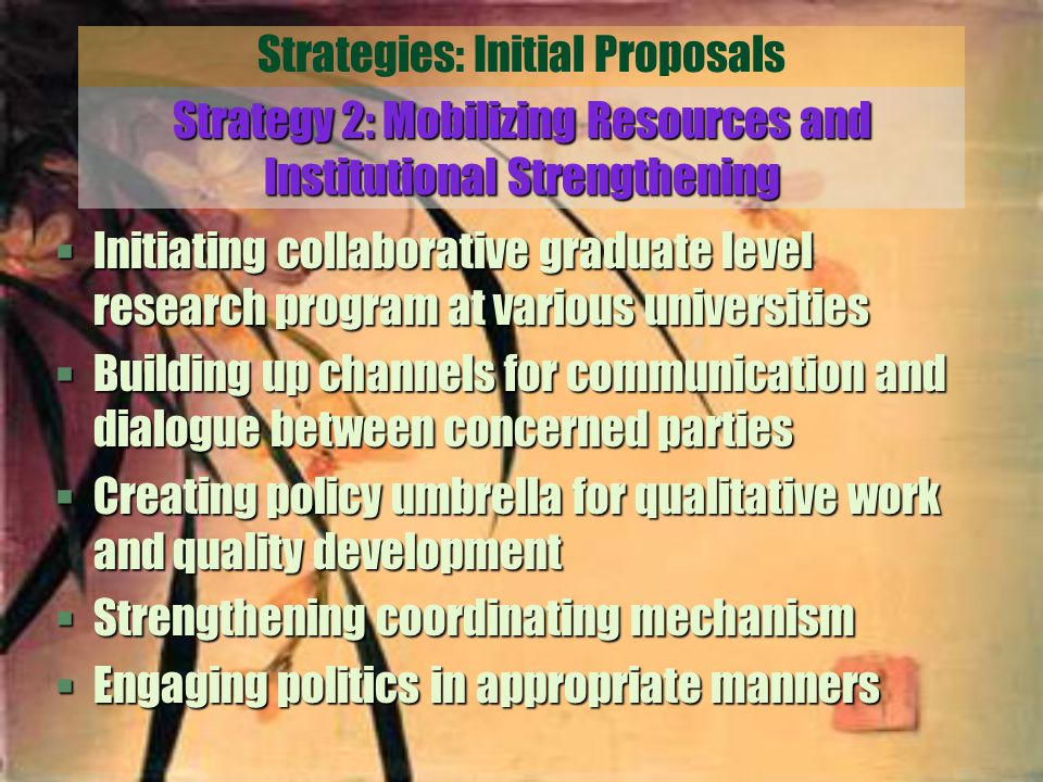 Strategies: Initial Proposals