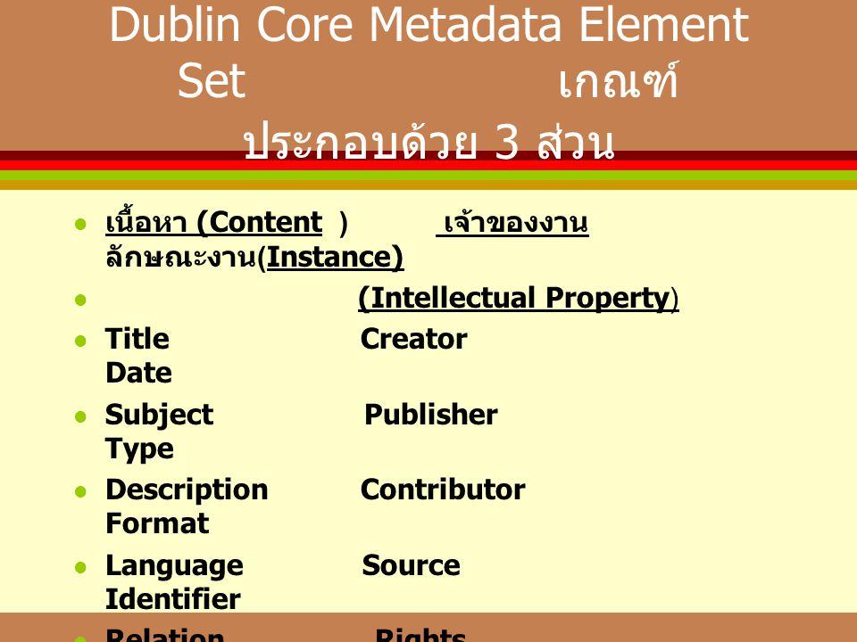 Dublin Core Metadata Element Set เกณฑ์ประกอบด้วย 3 ส่วน