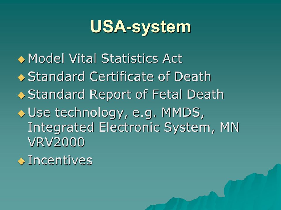 USA-system Model Vital Statistics Act Standard Certificate of Death
