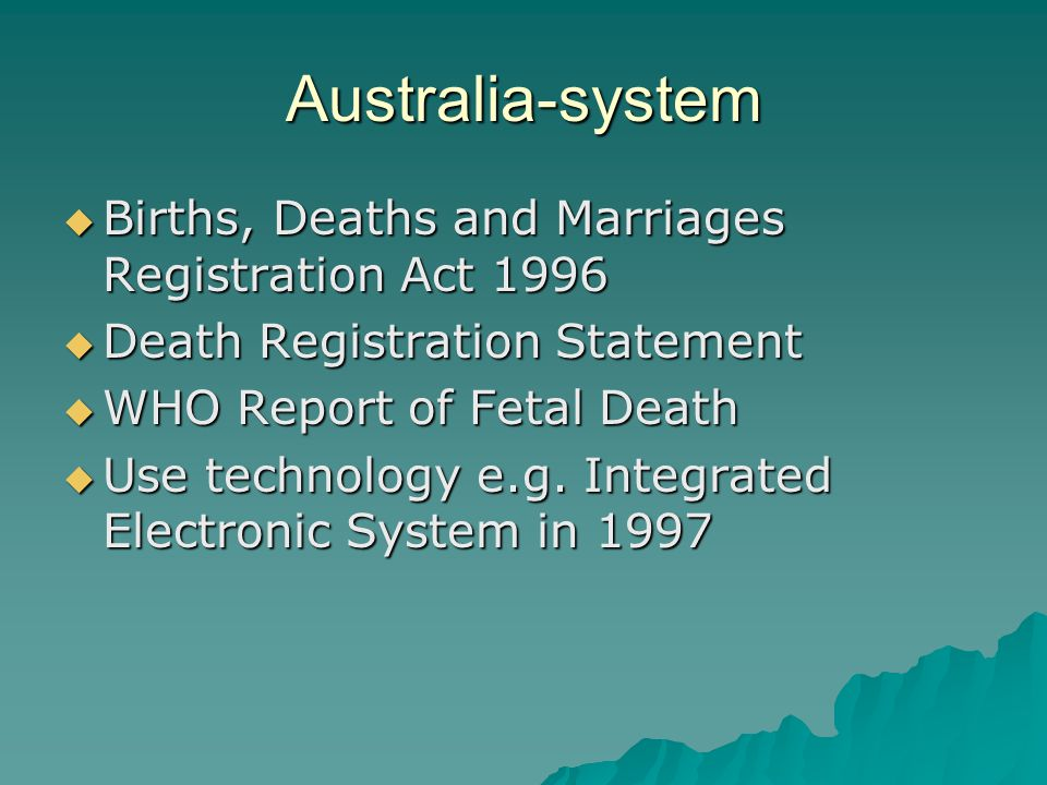 Australia-system Births, Deaths and Marriages Registration Act 1996