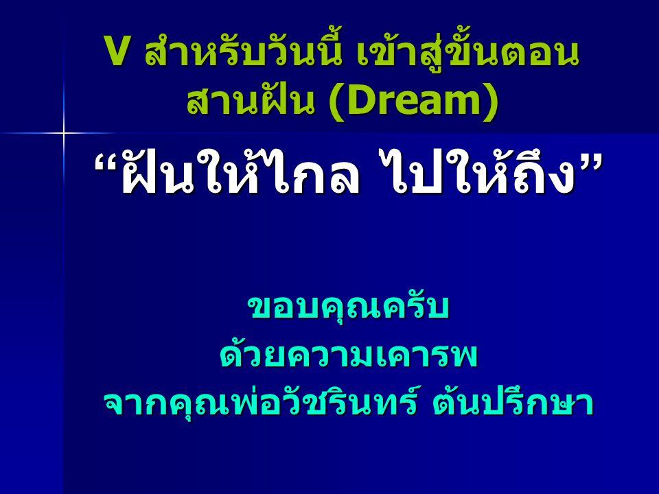 V สำหรับวันนี้ เข้าสู่ขั้นตอน สานฝัน (Dream)