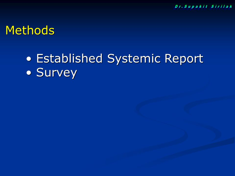 Dr.Supakit Sirilak Methods Established Systemic Report Survey