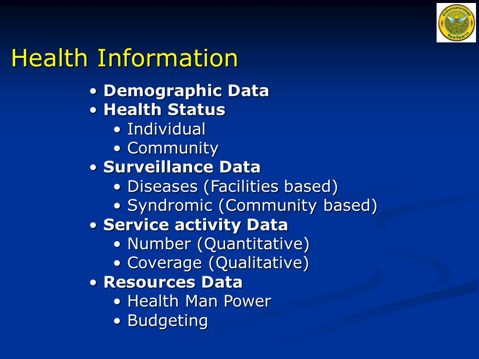 Health Information Demographic Data Health Status Individual Community