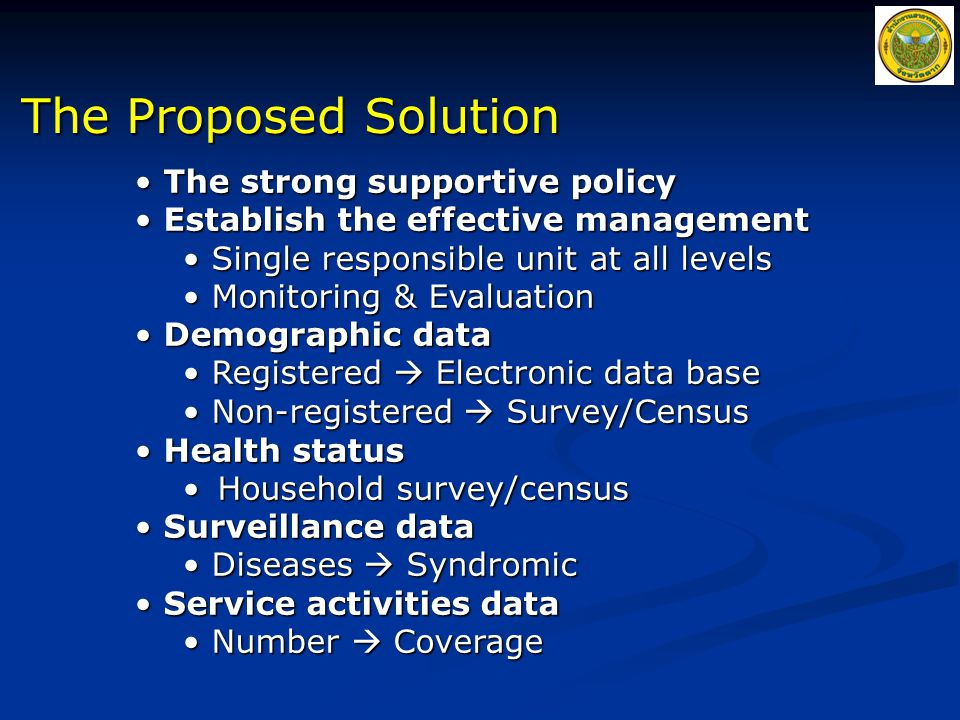 The Proposed Solution The strong supportive policy