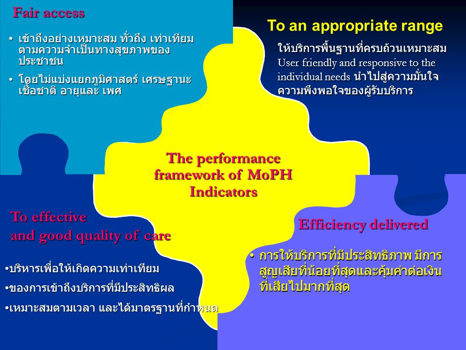 The performance framework of MoPH Indicators