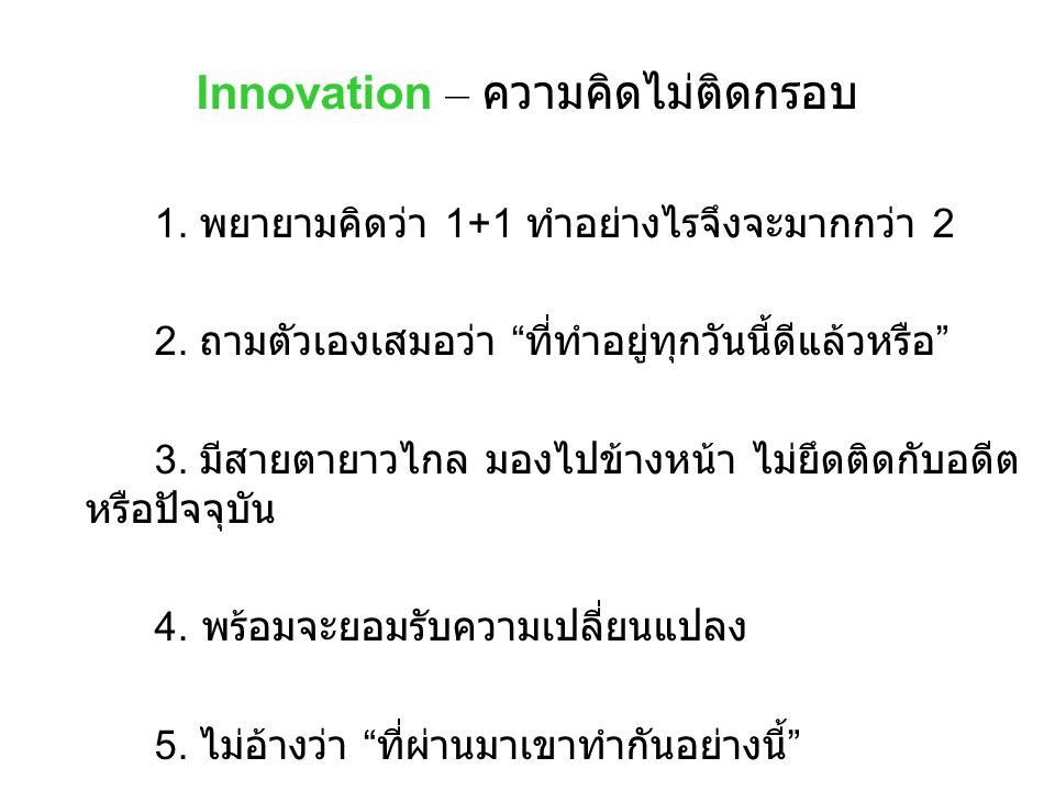 Innovation – ความคิดไม่ติดกรอบ