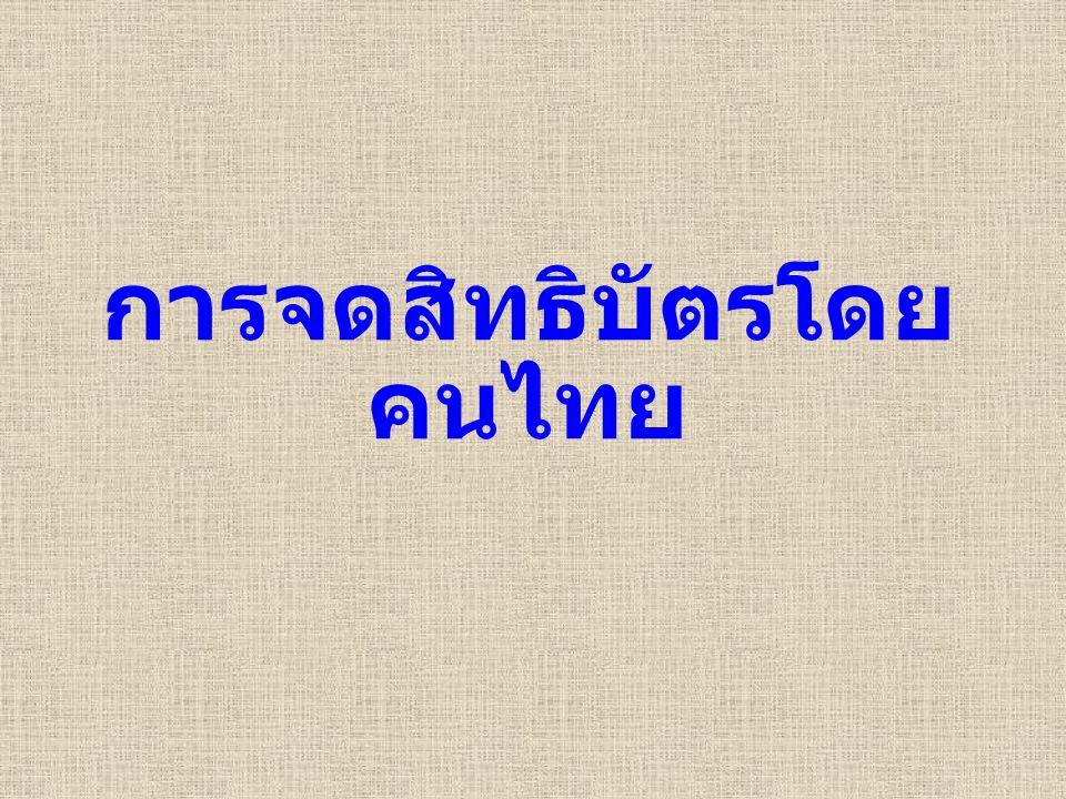 การจดสิทธิบัตรโดยคนไทย