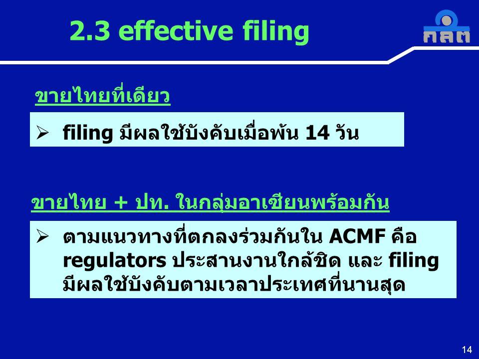 2.3 effective filing ขายไทยที่เดียว