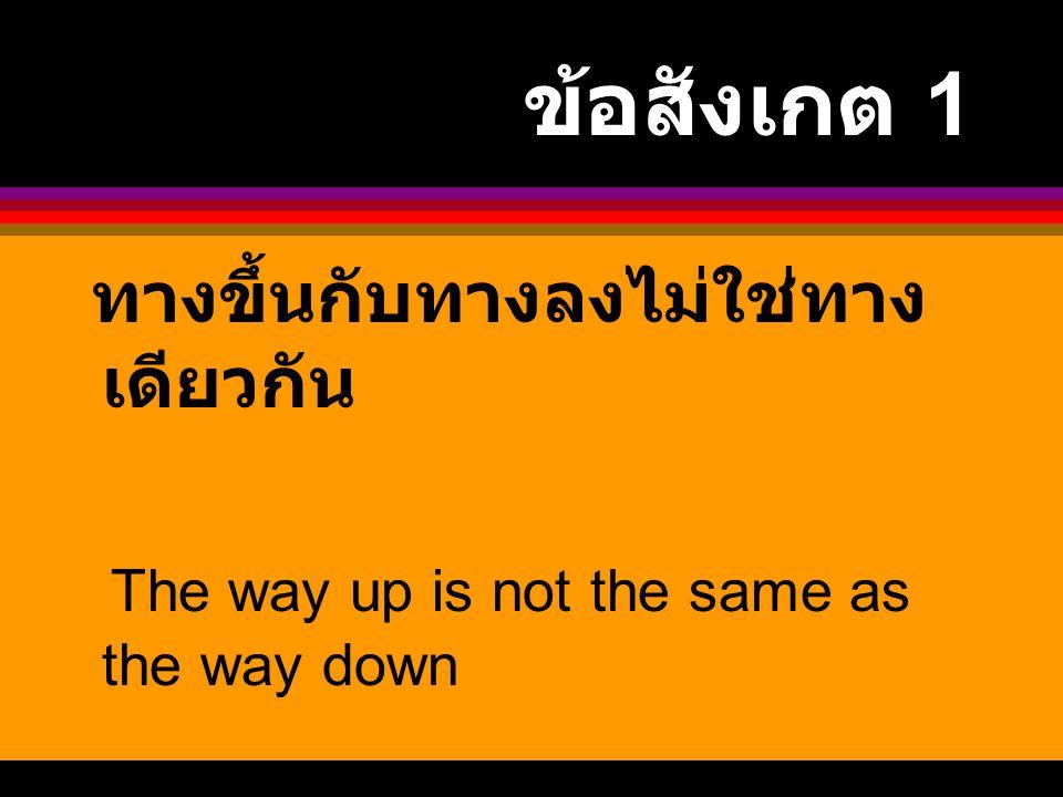ข้อสังเกต 1 ทางขึ้นกับทางลงไม่ใช่ทางเดียวกัน