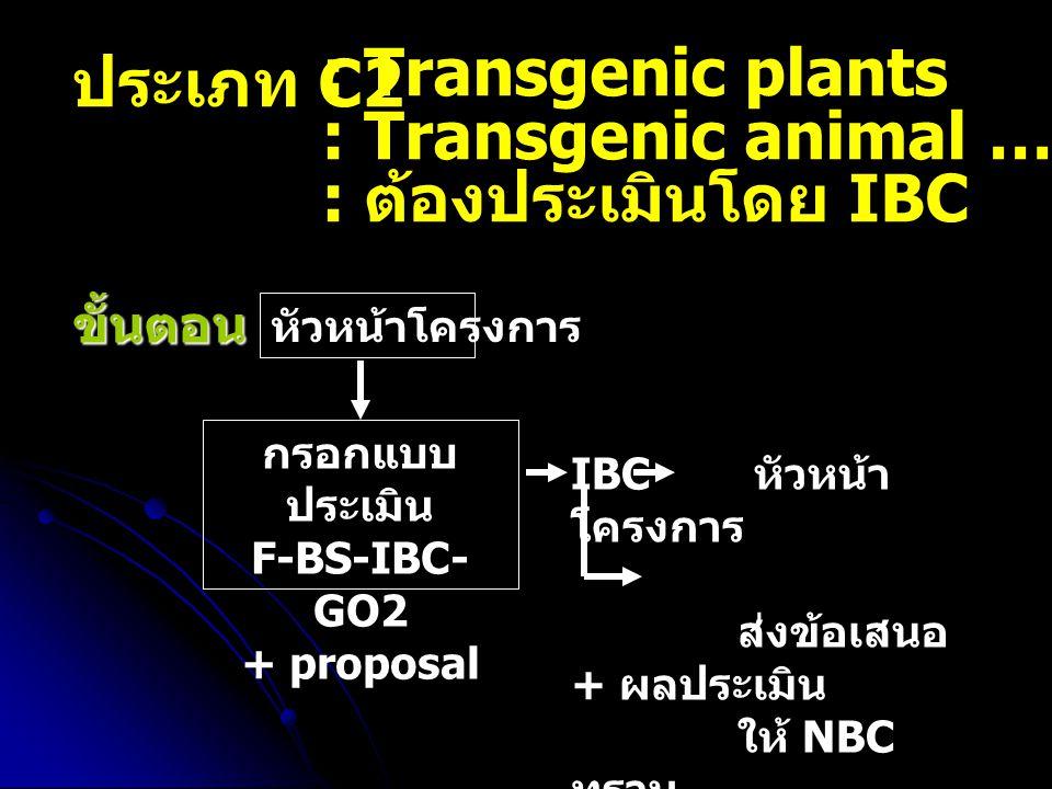 : Transgenic animal ….(หน้าที่ 21) : ต้องประเมินโดย IBC