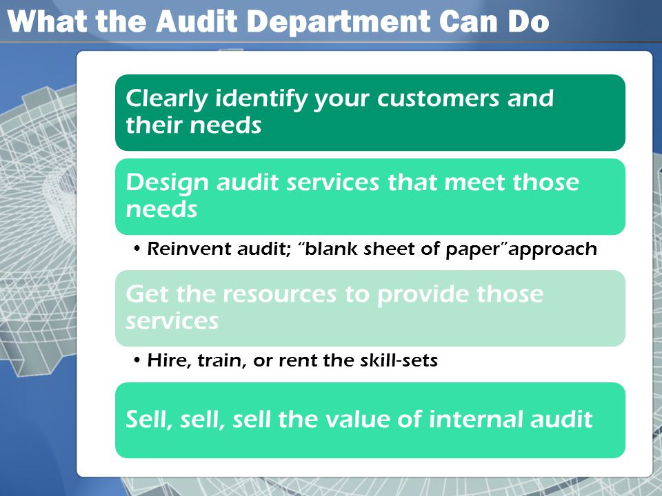 What the Audit Department Can Do