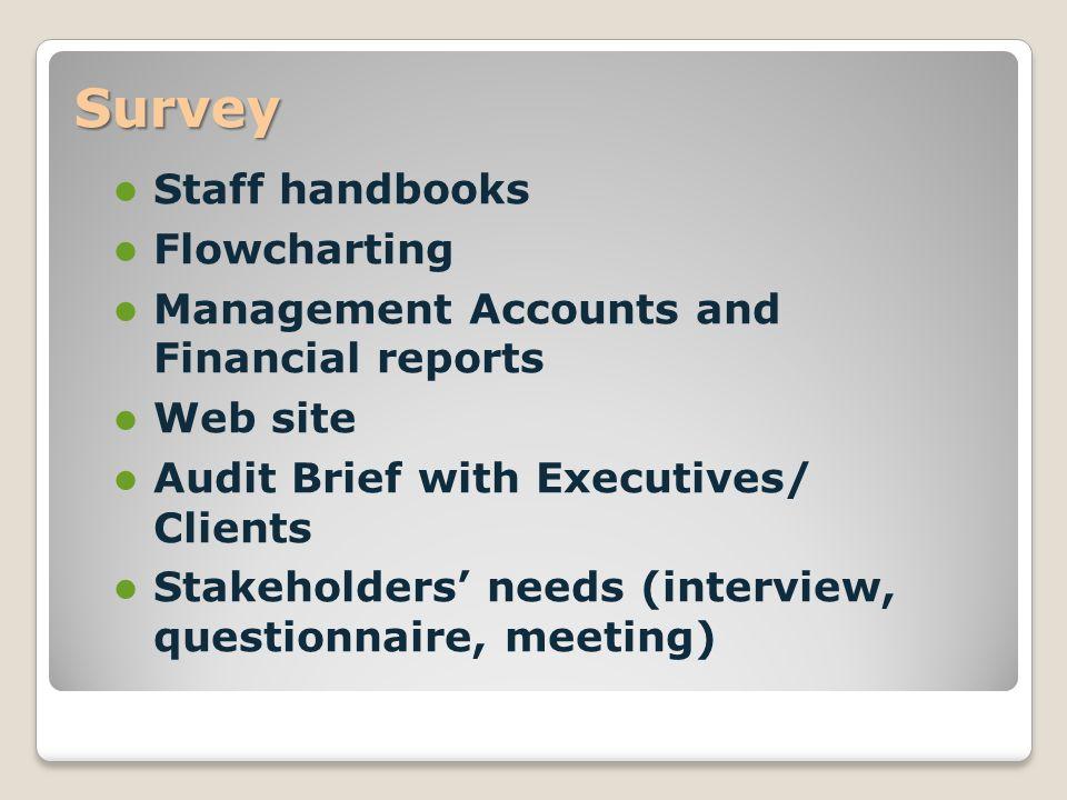 Survey Staff handbooks Flowcharting