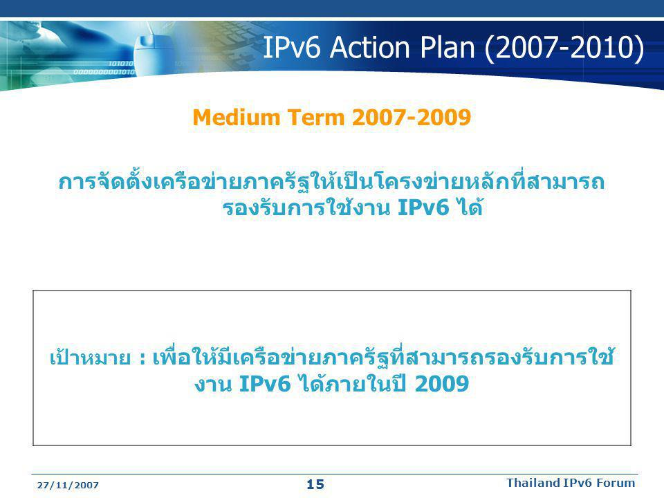 IPv6 Action Plan ( ) Medium Term