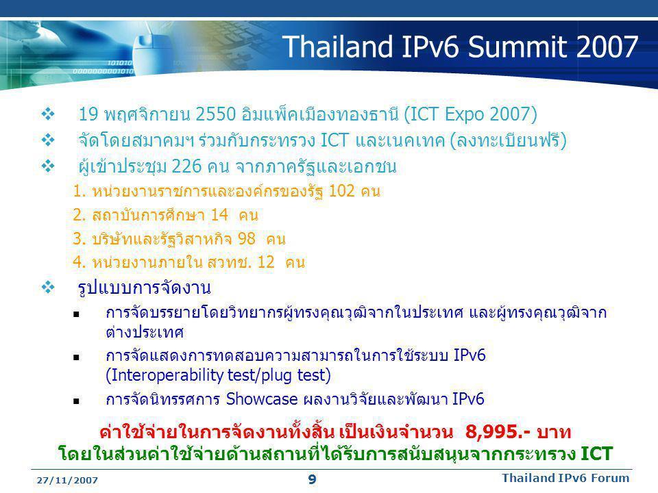 Thailand IPv6 Summit 2007 19 พฤศจิกายน 2550 อิมแพ็คเมืองทองธานี (ICT Expo 2007) จัดโดยสมาคมฯ ร่วมกับกระทรวง ICT และเนคเทค (ลงทะเบียนฟรี)