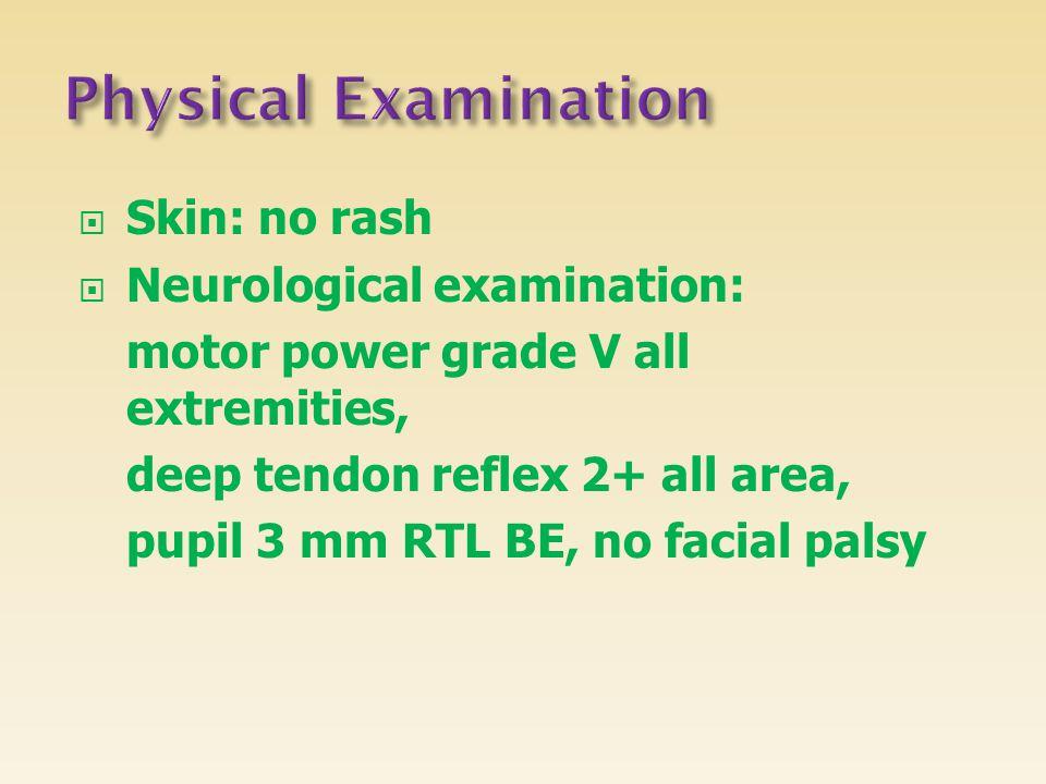 Physical Examination Skin: no rash Neurological examination: