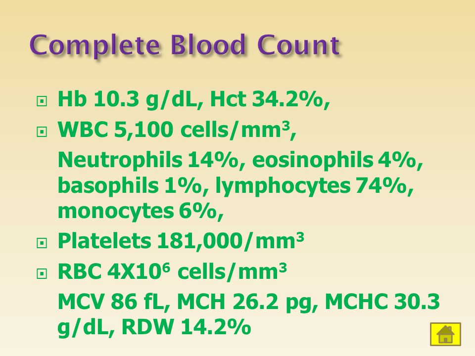 Complete Blood Count Hb 10.3 g/dL, Hct 34.2%, WBC 5,100 cells/mm3,