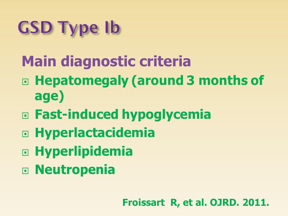 GSD Type Ib Main diagnostic criteria