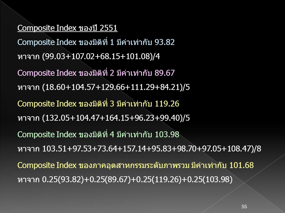 Composite Index ของปี 2551 Composite Index ของมิติที่ 1 มีค่าเท่ากับ 93.82. หาจาก (99.03+107.02+68.15+101.08)/4.