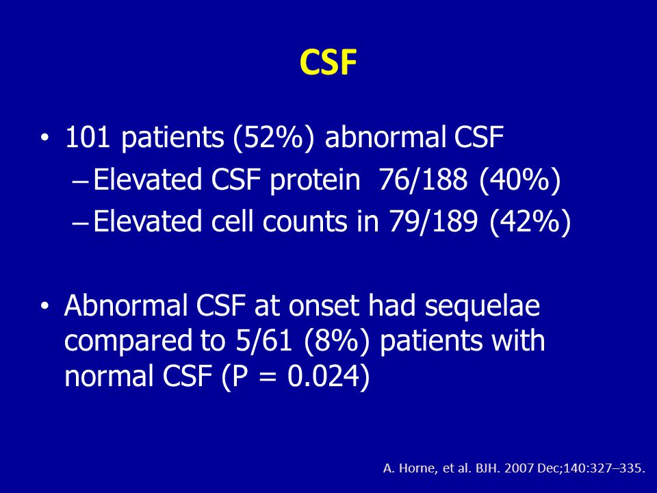 CSF 101 patients (52%) abnormal CSF Elevated CSF protein 76/188 (40%)